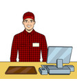 fast food seller at work pop art vector image vector image