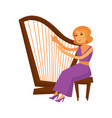 female musician in dress sitting and playing harp vector image vector image