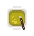 food plate with Green Sauce vector image