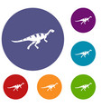 gallimimus dinosaur icons set vector image vector image
