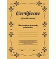 Gold vertical certificate template vector image vector image