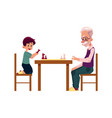 grandfather playing chess with his grandson boy vector image vector image