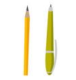 green pen and yellow pencil vector image