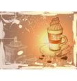 Grunge Hand Drawn Coffee Background vector image