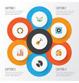 multimedia flat icons set collection of vector image vector image