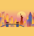 new york colourful background urban skyline vector image