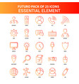 orange futuro 25 essential element icon set vector image