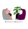 postpartum depression crying mother with vector image vector image