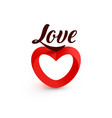 red heart logo love lettering saint valentine vector image