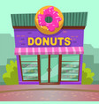 restaurant doughnut in city bakery cafe vector image