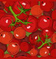 seamless pattern ripe red tomatoes with green vector image vector image