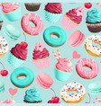 seamless pattern with pink and teal sweets vector image