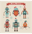 Set of Cute Retro Vintage Hipster Christmas Robots vector image vector image