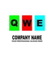 simple logo the three letters qwe are located on vector image vector image