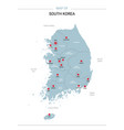 south korea map with red pin vector image