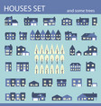 suburban houses set houses exterior flat design vector image