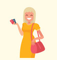 woman with credit card in hand vector image vector image
