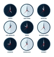 world clocks for time zones different cities vector image