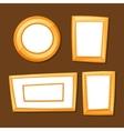 Set of gold various frames on brown background vector image