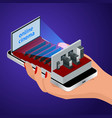 isometric live stream video player concept vector image