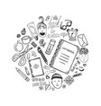 hand drawn collection with school stationery and vector image