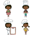 African-American chef girls vector image