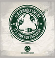 alternative eco friendly energy stamp vector image vector image