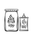 barbecue charcoal hand drawn vector image