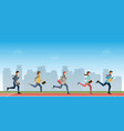 business people run to finish line team leader vector image