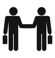businessman handshake icon simple style vector image