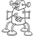 cartoon robot for coloring book vector image vector image
