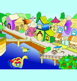 children coloring fairy city with river vector image vector image