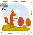 cute cartoon fox on background landscape forest vector image vector image