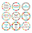 cute colorful happy halloween circle border set vector image vector image