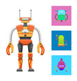 cute humanoid robot colorful vector image vector image