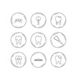 dental implant floss and tooth icons braces vector image