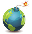 earth planet warning bomb vector image vector image