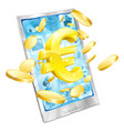 euro money phone concept vector image vector image