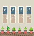 Four Glasses Windows With Pot Plants On Wooden vector image vector image
