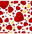 hearts and arrow seamless background vector image vector image