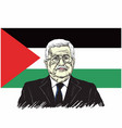 mahmoud abbas president of palestine with flag vector image vector image