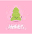 merry christmas card with cute cartoon character vector image vector image