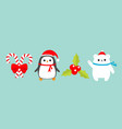 merry christmas icon set candy cane stick with vector image vector image