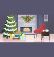 modern living room with fireplace fir tree vector image