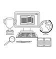 online education computer cartoon vector image vector image