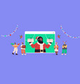 people discussing with santa claus in web browser vector image vector image