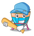 playing baseball character cartoon percussion vector image