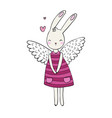 pretty cartoon bunny girl in a dress rabbit with vector image vector image
