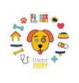 puppy face hotel for pets veterinary clinic or vector image