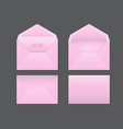 realistic pink envelope set on grey vector image vector image